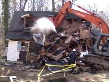 Rocky Mount&#039;s first buyout home was demolished Friday.(WRAL-TV5 News)