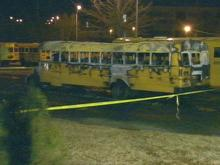 Fire investigators are trying to figure out who set fire to a school bus in the Leesville Road H.S. parking lot overnight.(WRAL-TV5 News)