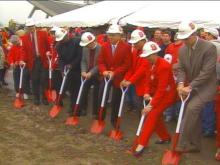 N.C. State leader broke ground Sunday for an expansion of Carter-Finley Stadium.(WRAL-TV5 News)
