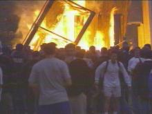 Students on Duke's campus celebrated the team's win with the traditional bonfire at the Quad.(WRAL-TV5 News)