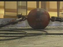 A 800-pound crane ball came crashing through the ceiling of Northgate Mall Thursday afternoon.(WRAL-TV5 News)