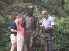 "A statue in Pullen Park in Raleigh depicts the characters of Sheriff Andy Taylor and his son, Opie, from ""The Andy Griffith Show."""