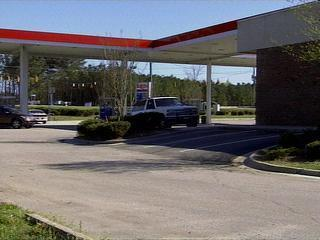 gas station, bomb scare