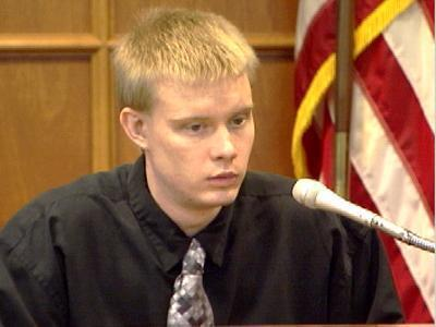 Timothy Johnson takes the stand during his murder trial in August 2005. Johnson was found guilty of both first-degree and second-degree murder in the shooting deaths of Brett Harman and Kevin McCann.