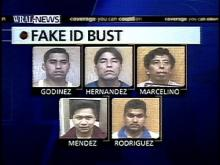 Five illegal immigrants from Mexico -- Jose Manuel Sosa Godinez, 26, Dionicio Hernandez, 32, Gabriel Canuto Marcelino, 41, Juan Robles Mendez, 23,and Quintin Sanchez Rodriguez, 20, face 270 counts of counterfeit and forgery charges.