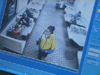 Surveillance video at a Zebulon McDonald's show Michelle Richardson who, police say, abandoned her newborn baby inside the women's bathroom.