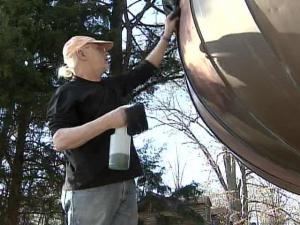 Every New Year's Eve since 1991, the copper acorn has dropped in downtown Raleigh as part of the city's celebration. The sculptor who made it, David Benson, is furiously polishing his pride and joy for this year's end.