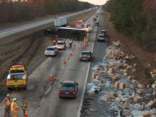 Crews work to allow traffic to flow away from the scene of the accident.(Photo taken by Bob Sanders)