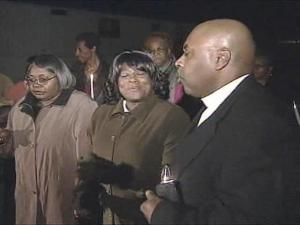 Prayers and songs supported the family of Larry Donnell Green, who was mistakenly declared dead two years ago Wednesday and who is in a rehabilitation facility.