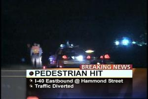 Witnesses say a two vehicles struck a  pedestrian trying to cross the Raleigh Beltline.