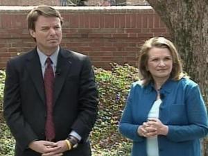 Former North Carolina Sen. John Edwards and his wife, Elizabeth Edwards, address the media Thursday.