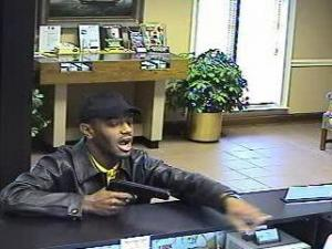 Surveillance camera photo of bank robbery in Wake Forest on April 11, 2007.