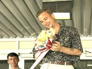 Sgt. Clint Moore visited West Johnston High School in 2003 and took down a yellow ribbon that his former classmates had hung during his first deployment to Iraq.