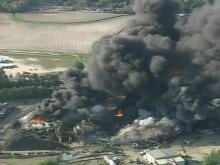 Smoke poured from a fire at a scrap metal yard in Smithfield.