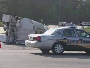 A tanker overturned Thursday morning near the intersection of Highway 55 and Technology Drive in Apex.