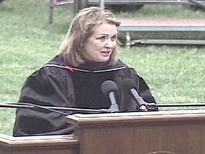Elizabeth Edwards, the wife of presidential candidate John Edwards, speaks to Meredith graduates at their commencement address May 13.
