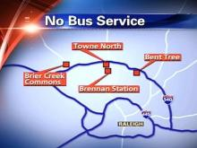 City bus service does not cover four shopping centers in north Raleigh -- Brier Creek Commons, Towne North, Brennan Station and Bent Tree.