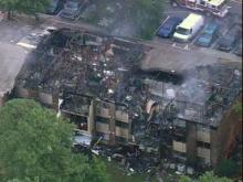Sky 5 Footage of Brentwood East Apartments Fire