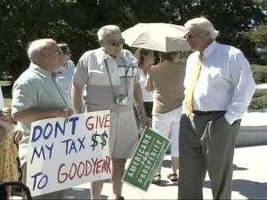 Lawmakers return to Raleigh Monday for a special session to consider overriding Gov. Mike Easley's veto of the Goodyear incentives bill. One group staged a rally a day early to get its message across.