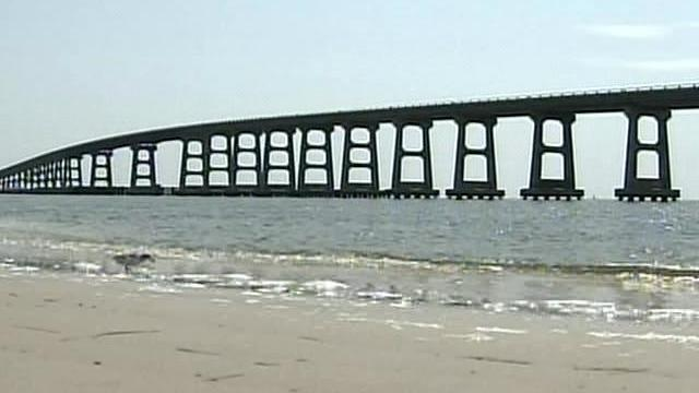 The Herbert C. Bonner Bridge spans Oregon Inlet to connect Hatteras Island with the mainland.