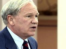 """Superior Court Judge Howard Manning addresses a commission of the state Board of Education on Sept. 17, about proficiency test scores for North Carolina high schools, which he says were """"very disheartening"""" for him."""