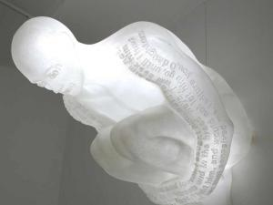 Jaume Plensa, Doors of Jerusalem III (Jaffa, Zion, Dung), 2006. Resin, stainless steel and light. 47 ¼ x 62 ½ x 80 ¾ inches. Image courtesy of Richard Grey Gallery.