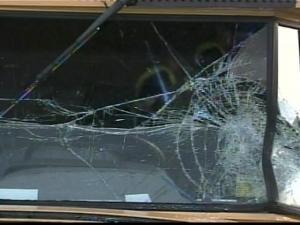 Two school buses collided along the 1500 block of Highway 96. The impact cracked the front window of one of the buses.