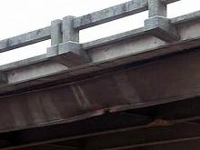 A tractor-trailer clipped the Brogden Road bridge.