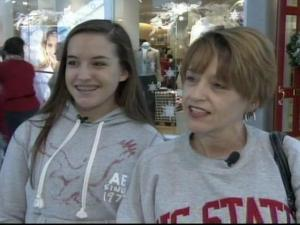 Chelsea Page, left, accompanied her mom, Sandy, to Triangle Towne Center on Friday, Nov. 23, 2007.