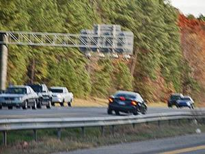 A driver headed the wrong way on Interstate 40 in western Wake County for about five miles on Dec. 3, 2007. (Photo courtesy of Harold Frazier III)