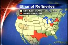 Map shows states with operating ethanol refineries and ones under constructions.