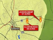 Map of Robeson County wildfires