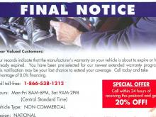 Attorney General Warns of Car Warranty Scams