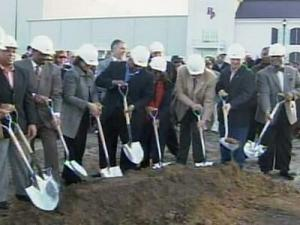 The Carolina Crossroads retail development project, next to the Roanoke Rapids Theatre, broke ground Wednesday, Jan. 23, 2008.