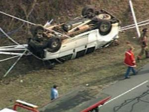 A stolen-truck chase ended on Tuesday afternoon, Jan. 29, 2008, when the truck flipped over on U.S. Highway 1 in Vance County, south of Henderson.