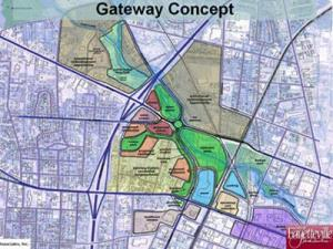 Maps of proposed plans to transform an area around Rowan Street, Murchison Road and Bragg Boulevard into a gateway to downtown and veterans' memorial park.
