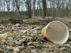 Litter at bottom of Lake Johnson