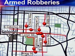 Locations of 12 armed robberies and two shootings during the past three months that Raleigh police believe targeted Hispanics.