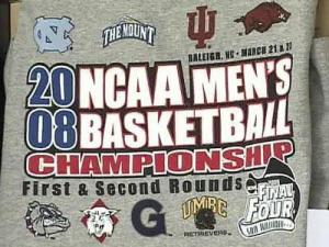 Only NCAA trademark items are for sale during the tournament.