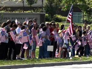 More than 100 people gathered outside Apex Funeral Home Thursday to pay their respects to Apex native Sgt. Lance Eakes, who was killed last week in Iraq.