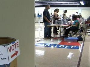 Voters take advantage of one-stop voting in Wake County on April 26, 2008.
