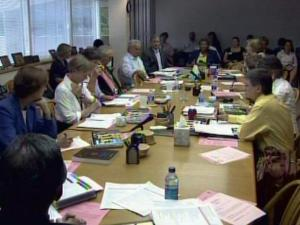 """Wake County Board of Education members and school system leaders meet June 23, 2008, to discuss budget cuts after the County Board of Commissioners allotted them $36 million less than what they requested for the 2008-2009 fiscal year. """"Nobody wants to advocate for any of these cuts,"""" one school board member said during the meeting."""