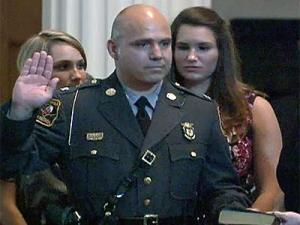 Col. Walter J. Wilson, a 28-year veteran of the North Carolina Highway Patrol, takes the oath as commander on July 9, 2008. Wilson replaces Col. W. Fletcher Clay, who retired earlier in the year.