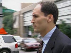 Brad Cooper outside the Wake County Courthouse on July 25, 2008, on his way to a hearing on the custody of his two young daughters.