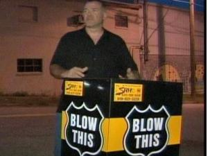"""Doug Scott took the """"Blow This"""" cart to downtown Raleigh on July 25, 2008. The cart has an alcohol breath tester."""