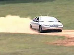 An officer trains on the closed track.