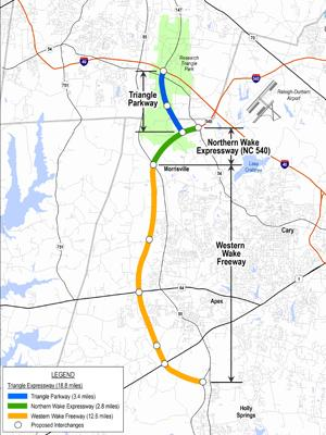 A segment of a North Carolina Turnpike Authority planning map showing the planned Triangle Expressway. The Triangle Expressway has three sections: the future Triangle Parkway, the future Western Wake Freeway and the Northern Wake Expressway. (NCTA map)