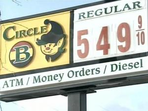 The Circle B in Fayetteville was selling regular gas for $5.49 Friday afternoon. The price dropped to $3.99 hours later.