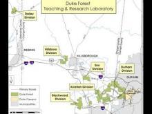 Map shows divisions of Duke Forest. (Duke University map)