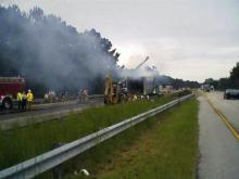 This crash in Fayetteville Wednesday morning backed up traffic on Interstate 95.